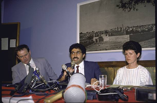 Nancy Awad (R) sitting with lawyers Jonathan Kuttab (C) and Avraham Gal (L) during press conference about the deportation order against Mubarak Awad, Palestinian-American advocate of nonviolent resistance to occupation.  (Photo by David Rubinger/The LIFE Images Collection/Getty Images)